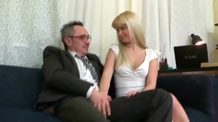 Fascinating darling is delighting old teacher with fellatio engulfing