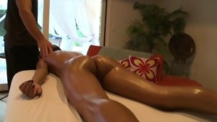 Hawt looker is getting a lusty oil rubbing from sexy lay out