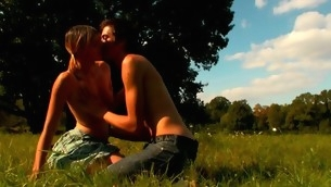 In force Age Teenager sweetheart looks very concupiscent with the ardent sex in open air