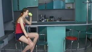 Sex appeal legal age teenager chick kneels and performs fine oral-sex.