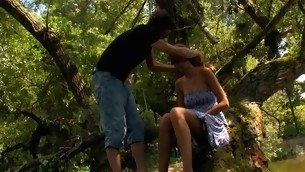 Wide forest vasts are used for a legal age teenager sex with a filthy blonde