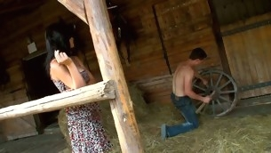 Legal Age Teenager whore finds a hayloft in order about enjoys sex in there