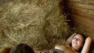 Nasty legal age teenager pair is having sizzling sexy sex to hand the haystack